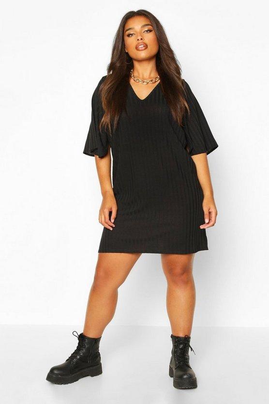 Plus Split Sleeve Ribbed T-Shirt Dress