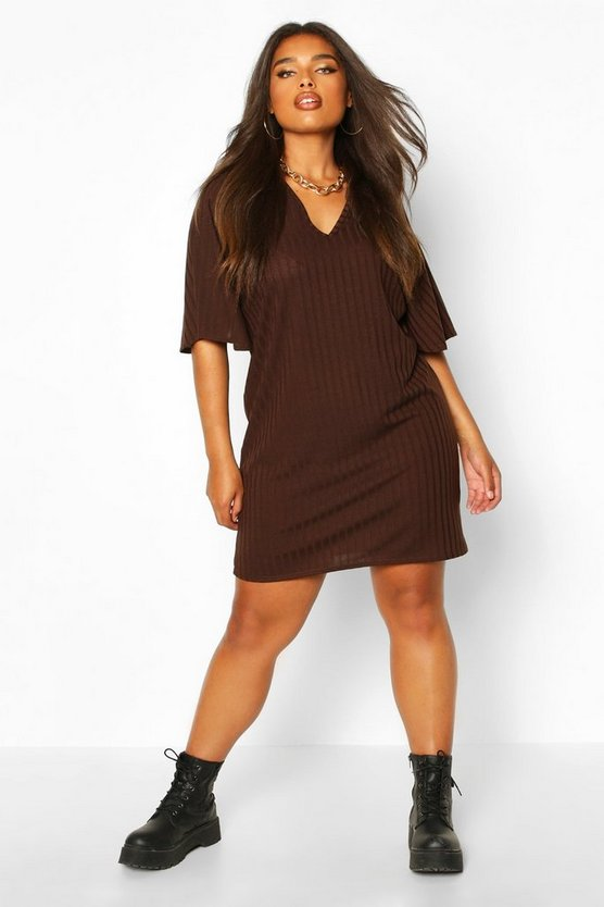 Womens Chocolate Plus Split Sleeve Ribbed T-Shirt Dress