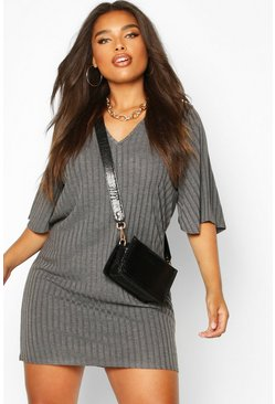 Womens Grey Plus Split Sleeve Ribbed T-Shirt Dress