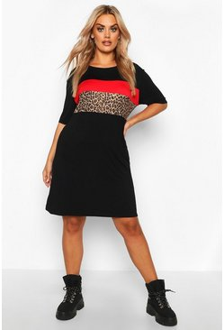 Black Plus Leopard Contrast Panel T-Shirt Dress