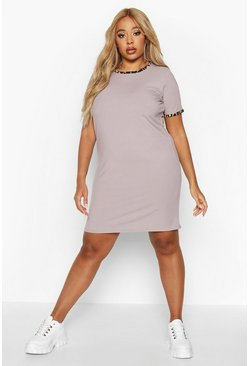 Womens Grey Plus Ribbed Ringer T-Shirt Dress