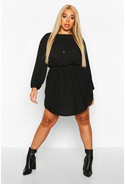 Black Plus Linen Button Down Smock Dress