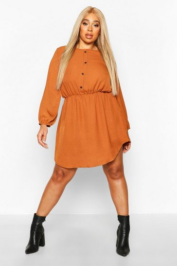 Tobacco Plus Linen Button Down Smock Dress