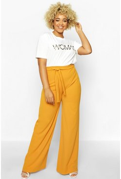 Mustard Plus High Waist Wide Leg Tie Side Trouser