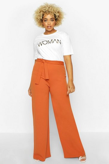 Womens Rust Plus High Waist Wide Leg Tie Side Trouser