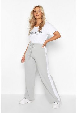Grey Plus Side Stripe Drawstring Wide Leg Trousers