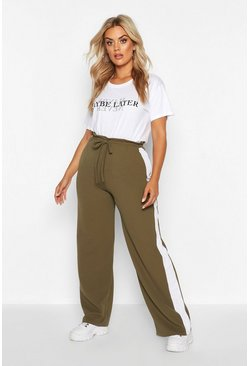 Khaki Plus Side Stripe Drawstring Wide Leg Trousers