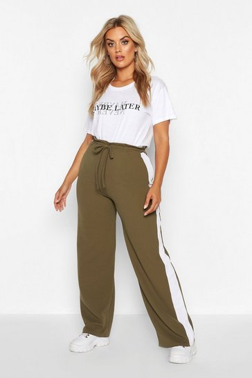 Womens Khaki Plus Side Stripe Drawstring Wide Leg Trousers