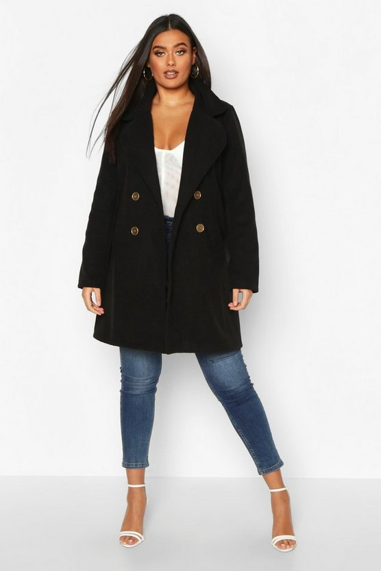 Black Plus Double Breasted Button Wool Look Coat