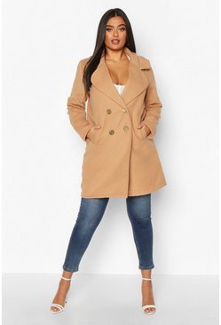 Camel Plus Double Breasted Button Wool Look Coat
