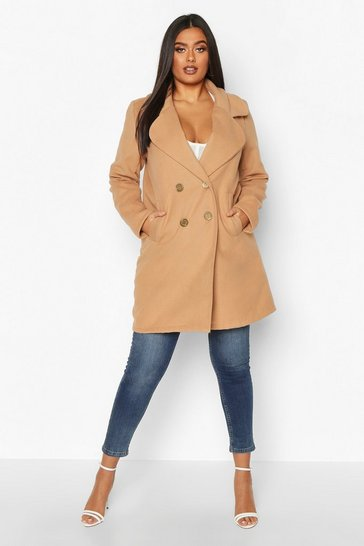 Womens Camel Plus Double Breasted Button Wool Look Coat