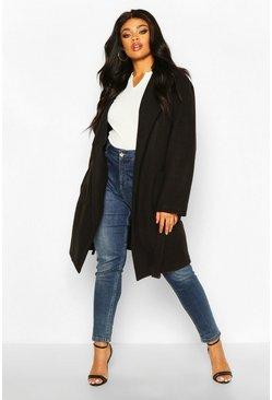 Womens Black Plus Heavy Wool Look Wrap Duster Coat