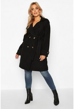Black Plus Military Detail Wool Look Trench Coat