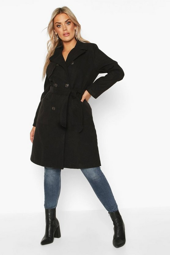 Black Plus Pocket Front Wool Look Trench Coat