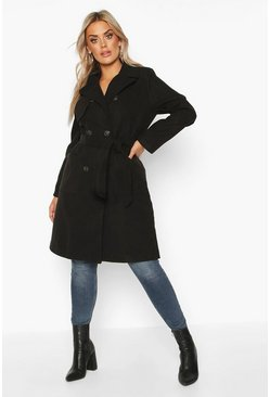 Womens Black Plus Pocket Front Wool Look Trench Coat