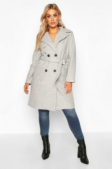 Womens Grey Plus Pocket Front Wool Look Trench Coat