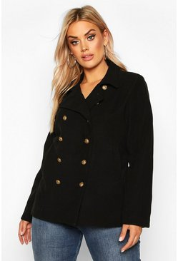 Womens Black Plus Military Button Detail Crop Coat