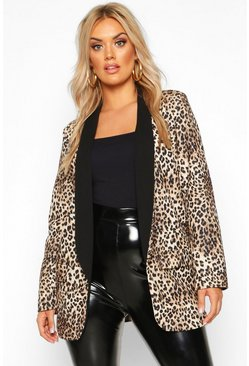 Womens Brown Plus Contrast Lapel Leopard Print Blazer