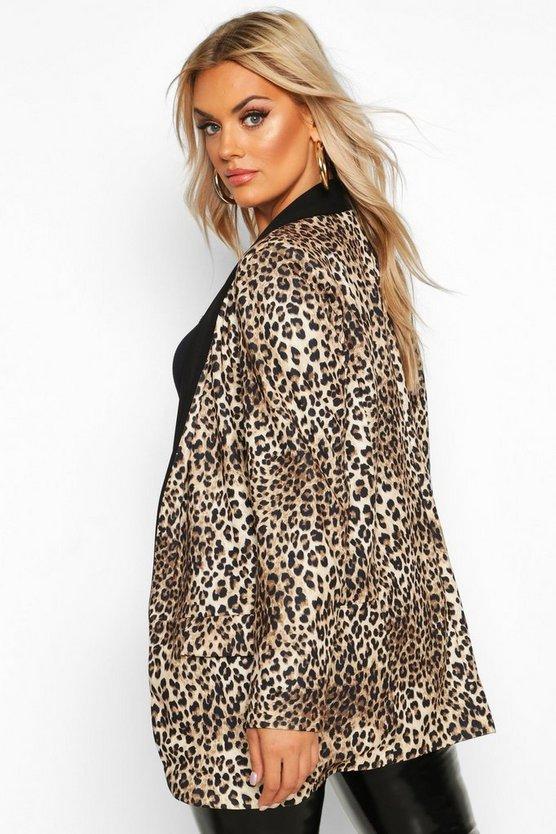 Plus Contrast Lapel Leopard Print Blazer