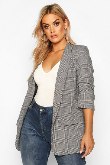 Womens Grey Plus Dogtooth Prince Of Wales Check Blazer