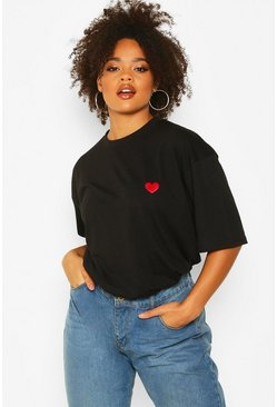 Black Plus Heart Embroidery Pocket T-Shirt