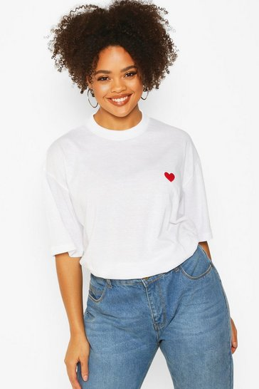 Womens White Plus Heart Embroidery Pocket T-Shirt