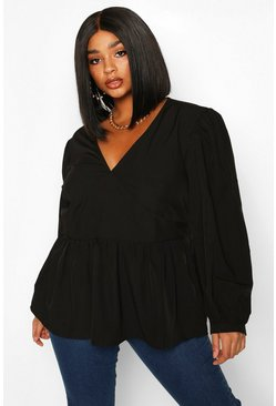 Dam Black Plus Woven Oversized Sleeve Peplum Blouse
