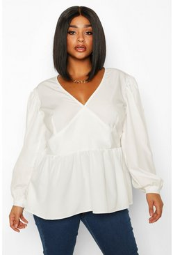 White Plus Woven Oversized Sleeve Peplum Blouse