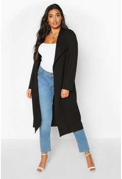 Womens Black Plus Pocket Thick Duster Coat