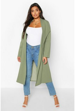 Womens Khaki Plus Pocket Thick Duster Coat