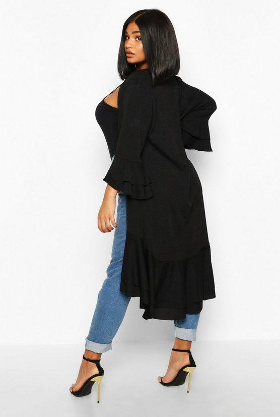 Plus Ruffle Hem Midi Kimono