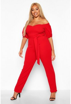 Red Plus Off The Shoulder Bardot Self Belt Jumpsuit