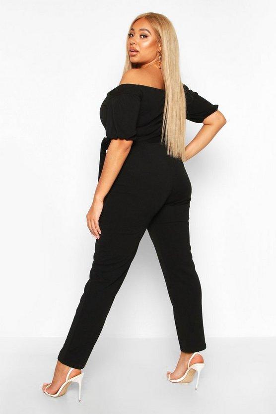 Plus Off The Shoulder Bardot Self Belt Jumpsuit