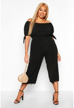 Womens Black Plus Eyelash Lace Trim Off Shoulder Jumpsuit