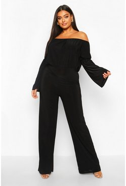 Black Plus Bardot Flare Sleeve Wide Leg Jumpsuit