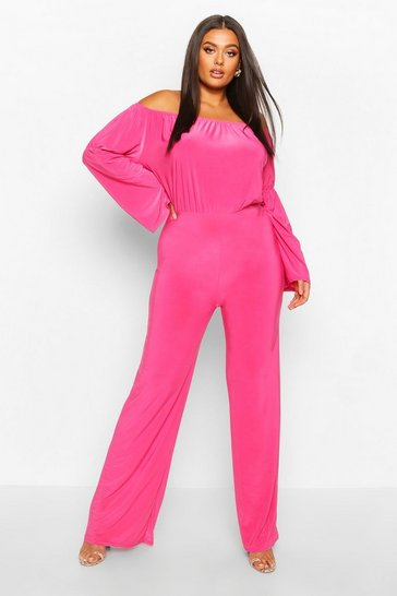 Hot pink Plus Bardot Flare Sleeve Wide Leg Jumpsuit