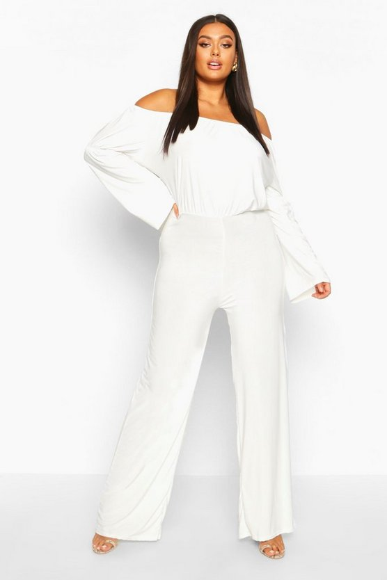 Ivory Plus Bardot Flare Sleeve Wide Leg Jumpsuit