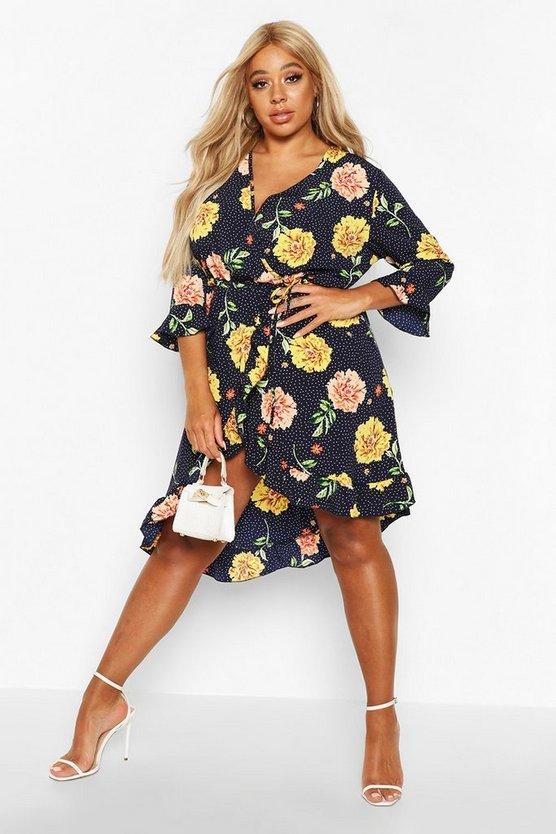 Plus Floral Polka Dot Assymetric Wrap Midi Dress