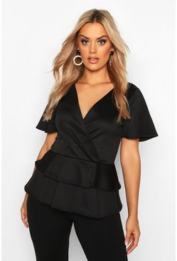 Black Plus Wrap Over Cap Sleeve Scuba Peplum Top