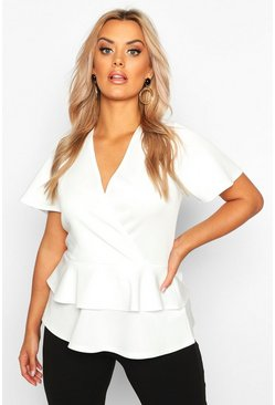 Ivory Plus Wrap Over Cap Sleeve Scuba Peplum Top