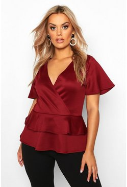 Wine Plus Wrap Over Cap Sleeve Scuba Peplum Top