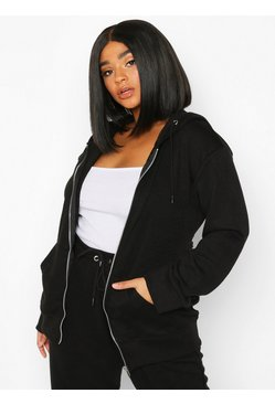 Black Plus Belted Zip Through Oversized Hoody