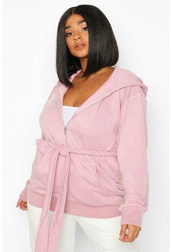Womens Blush Plus Belted Zip Through Oversized Hoody