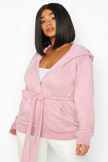 Blush Plus Belted Zip Through Oversized Hoody