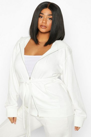 Ivory Plus Belted Zip Through Oversized Hoody