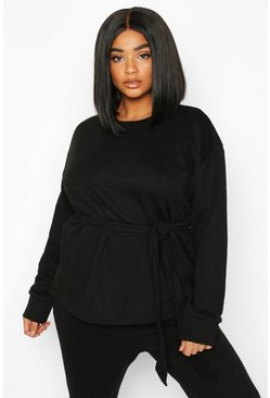 Black Plus Tie Front Sweatshirt
