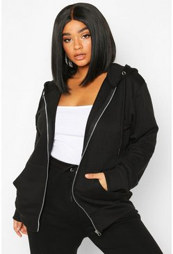 Womens Black Plus Basic Oversized Zip Through Hoody