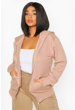 Womens Camel Plus Basic Oversized Zip Through Hoody