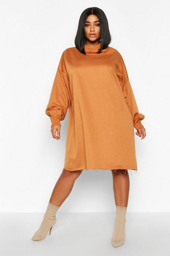 Robe sweat oversize souple à col roulé Plus, Camel, Femme