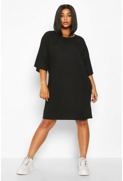 Womens Black Plus Oversized Slouch Rib T-Shirt Dress